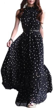 TOOGOO(R) Vestito Lungo Maxi da Donna in Chiffon da Donna Senza Maniche con Cintura Nero