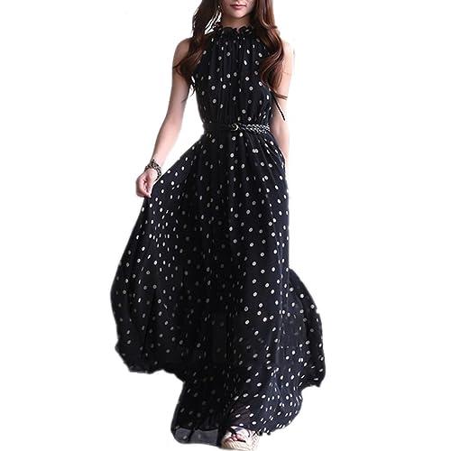 TOOGOO(R) Vestito Lungo Maxi da Donna in Chiffon da Donna Senza Maniche con ed82f1ee004d