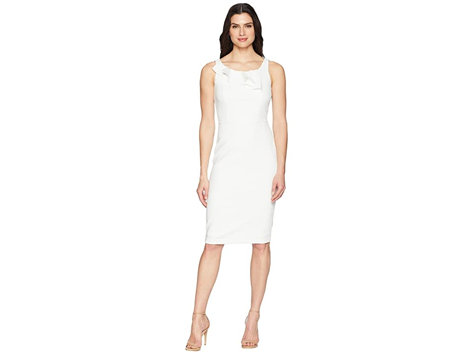 Calvin Klein Ruffle Detail Bodice Sheath Dress CD8C19MC (Cream) Women