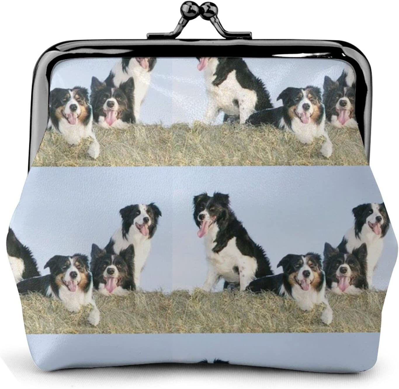 Border Collies In 868 Women'S Wallet Buckle Coin Purses Pouch Kiss-lock Change Travel Makeup Wallets, Black, One Size