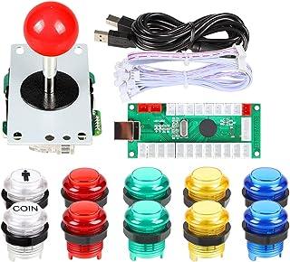 EG STARTS Zero Delay USB Encoder para PC Juegos Red Joystick + 10x LED iluminado 5V Botones pulsadores para Arcade Joystick DIY Kits Partes Mame Raspberry Pi 2 3 3B