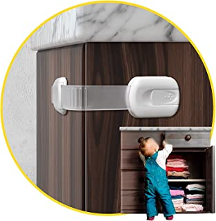 BOOTWO Child Safety Locks -Value Pack (10 Straps)- No Tools or Drilling -Adjustable Size/Flexible -Adhesive Furniture Latc...