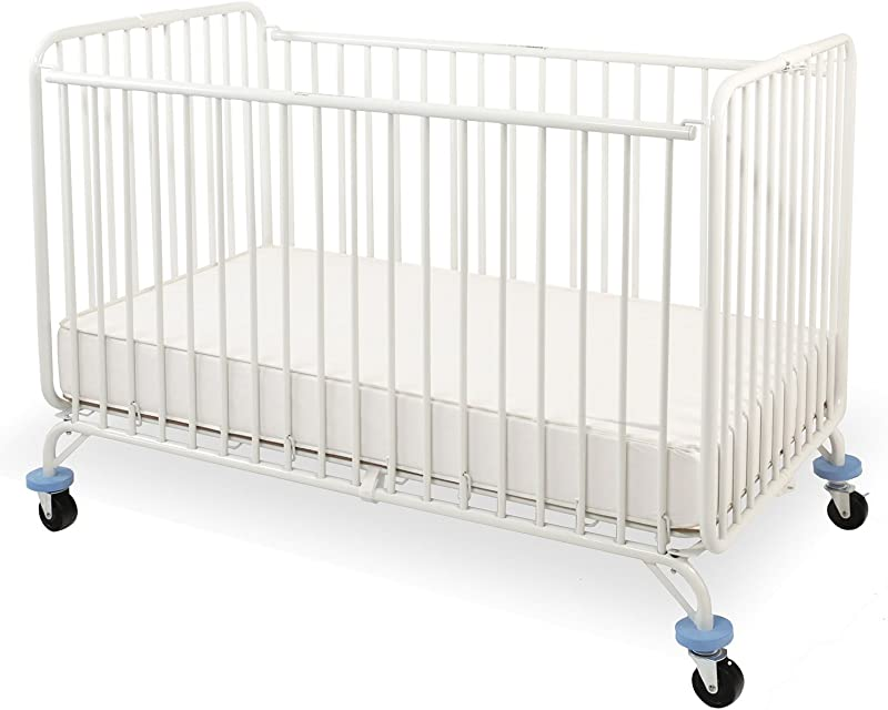 LA Baby Full Size Metal Holiday Crib White