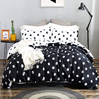 Top Finel Twin Duvet Cover 2 Piece Set Polka Dots Comforter Cover Zipper Closure with 1 Pillow Sham Soft Microfiber Bedding Set Reversible Design Black and White, 68 x 90 Inch