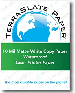 TerraSlate Copy Paper Waterproof Laser Printer, Rain Weatherproof, 10 MIL, 8.5x11-inch, 25 Sheets