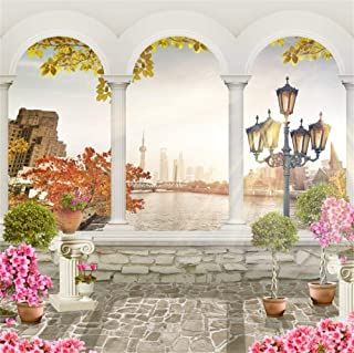 EdCott 10x10ft Old Stone Balcony Wedding Photo Booth Telón Fondo Girls Dream Fairy Place Background Escena otoño White Columns and Flowers Wonderland Fotografía Telones Fondo Photo Studio Props