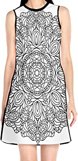 Women's Sleeveless Dress Arabic Design Fashion Casual Party Slim A-Line Dress Midi Tank Dresses