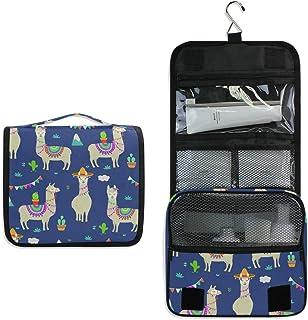 AUUXVA Hanging Toiletry Bag Llama Alpaca Cactus Travel Cosmetics Bag Portable Toiletry Kit for Women Men