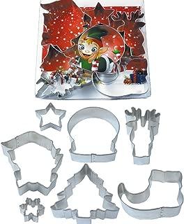 R&M International 2005 Jolly Holiday Cookie Cutters, Snow Globe, Elf Face, Shoe, Christmas Tree, Star, Reindeer, Mini Snowflake, 7-Piece Set