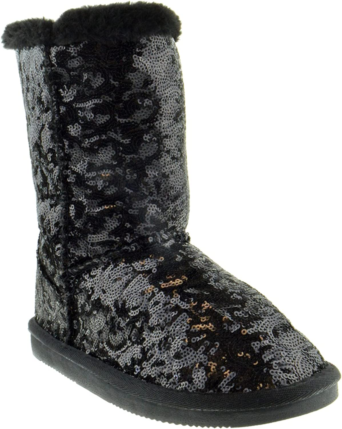 shoes Dezigns Bling Womens Sequin Faux Fur Shearling Boots
