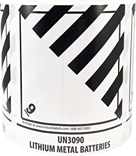 Hazard Class 9 D.O.T. UN3090 Lithium Metal Batteries Labels 4 x 4 3/4 Inch Square 500 Adhesive Stickers