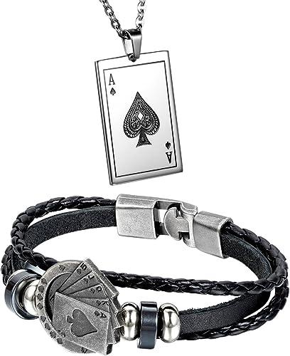 Aroncent Pulsera de Cuero Trenzado Brazalete Decorado de Picas Póker Collar con Colgantes de Baraja de Cartas de Acer...