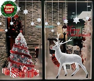 Yuson Girl Reno Blanco Árbol de Navidad Copos de Nieve Pegatinas de Ventana Navidad Reutilizable Murales Decorativos Pared Invierno Decoracion Ventana Puerta Navidad Exterior Tienda Casa