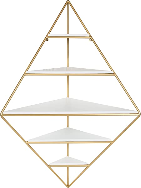 Kate And Laurel Melora Modern Glam Corner Wall Shelf With Gold Frame And Wood Shelves White