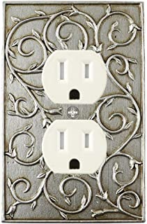 Meriville French Scroll Electrical Outlet Wall Plate Cover, Hand Painted Single Duplex receptacle outlet cover, Aged Silver