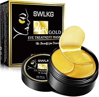24K Gold Eye Treatment Mask Under Eye Patches Reduces Wrinkles and Puffiness Lighten Dark Circles Moisturizing and Anti Aging Eye Mask (30 Pairs) by SWLKG
