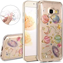 IKASEFU Bling Glitter Luxury flash cute Planetary background Soft TPU Silicone Rubber Bumper Thin Protective Sparkly Cover Compatible with Samsung Galaxy A3 2017
