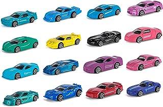 مجموعة سيارات سباق مصبوبة من هاتون، 16 قطعة صغيرة متعددة الألوان من سبيكة معدنية لعبة سيارات، هدية رائعة لعيد الميلاد مناس...