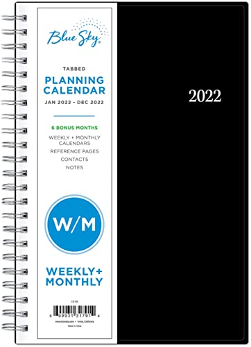 """Blue Sky 2022 Weekly & Monthly Planner, 5"""" x 8"""", Flexible Cover, Wirebound, Enterprise (131791)"""