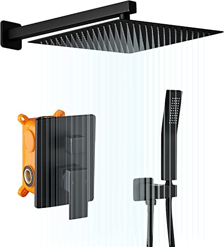 wholesale AIMADI Shower Faucets Sets Complete Black,Wall Mounted 10 Inches Rainfall Shower Head and Handle Set 2021 System Matte Black Finish Shower Faucet Contain Rough-in Valve high quality Body and Trim online