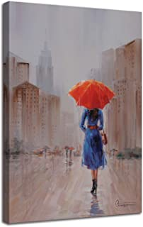 girl in rain with umbrella painting
