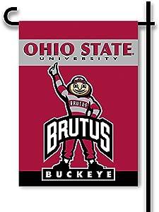 NCAA Ohio State Buckeyes 2-Sided Garden Flag, Team Color,