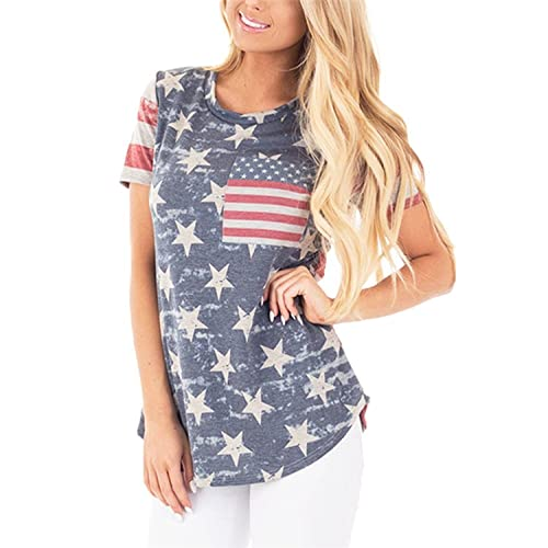 c8b04781b5acf POPTEM Womens Casual American Flag T Shirt 4th of July Short Sleeve Tee USA Patriotic  Summer