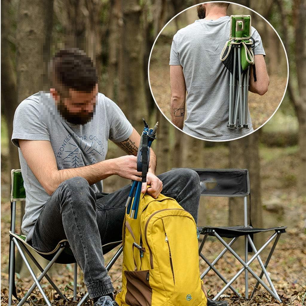 GQQ Chaise de Bureau, Dossier de Tabouret Portatif Extérieur Est Chaise Pliante de Camping de Barbecue Pliée (37 * 37 * 57Cm),Noir Noir