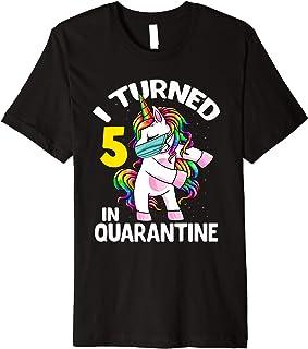 I Turned 5 In Quarantine Flossing Unicorn 5th Birthday Gift Premium T-Shirt