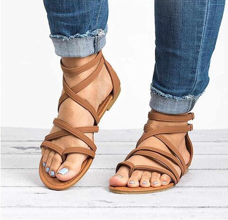 LYYJF Womens Slippers Sandals, Cross Slide Sandals, Casual Beach Slip On Comfort Sandals, Lightweight, Size 35-43