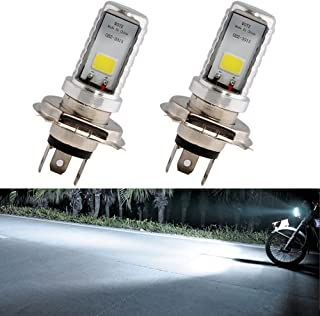 EverBrightt 2-Pack 900 Lumens White H4 COB 12W Led Bulb for Motorcycle Headlights Lamp High Low Beam