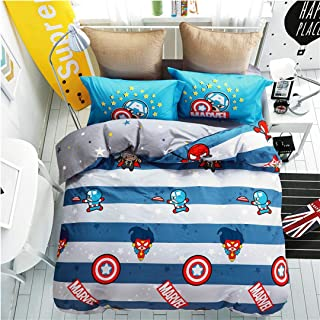 Casa 100% Cotton Kids Bedding Set Boys Captain America Duvet Cover and Pillow Cases and Fitted Sheet,Boys,4 Pieces,Queen