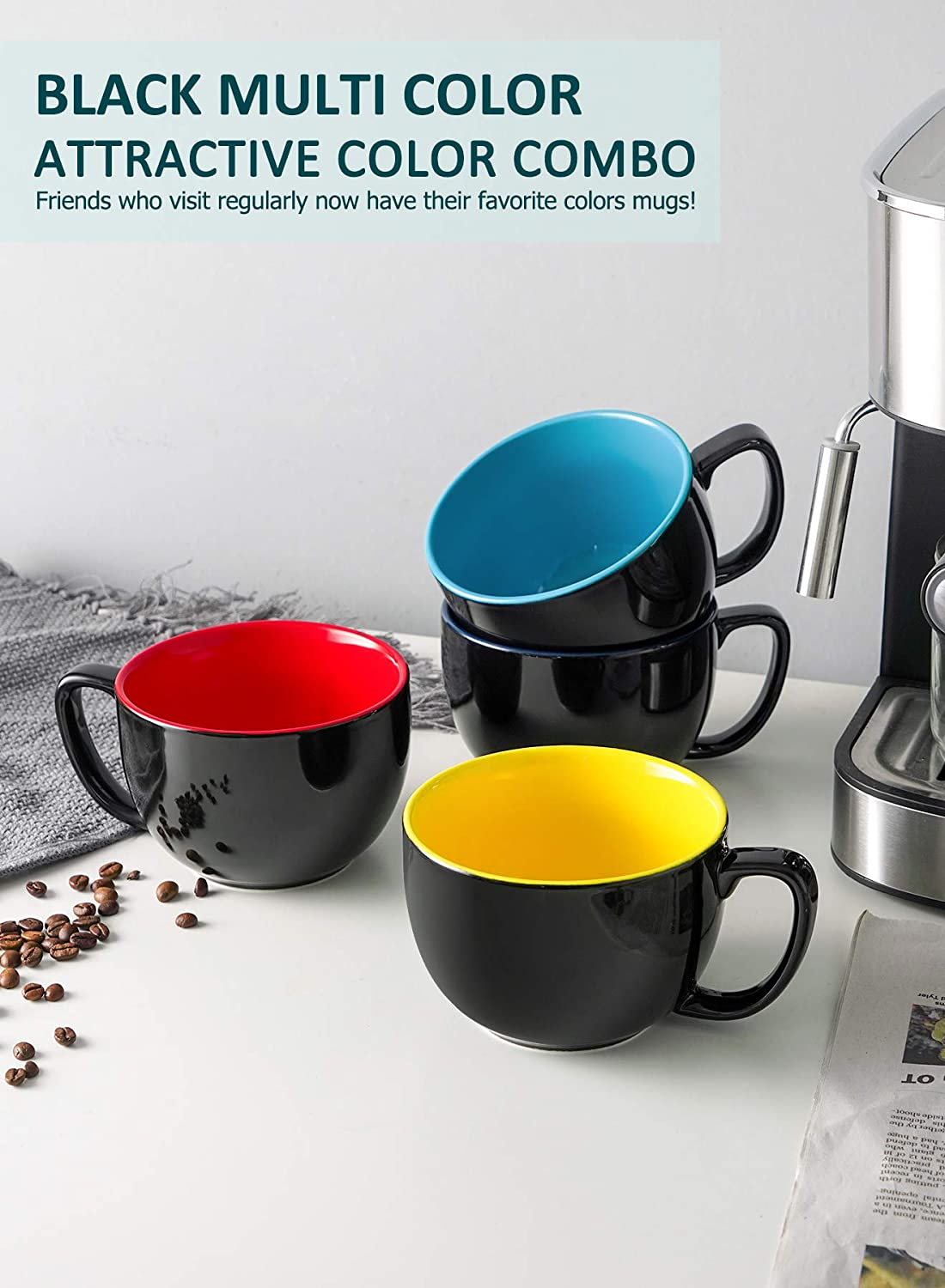 Tea or Water Smooth Ceramic with Modern Design Milk Black Multi Color Porcelain Jumbo Coffee Mugs Set of 4-16 Ounce Cups with Handle for Hot or Cold Drinks like Cocoa