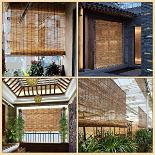 Koovin Natural Reed Curtain,Bamboo Roller Blinds,Rain-Resistant Moisture-Proof Decorative Blinds,for Indoor/Outdoor