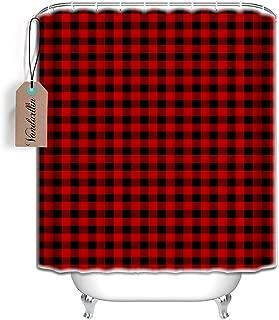 Vandarllin Rustic Red Black Buffalo Check Plaid Pattern Shower Curtain Bathroom Decorations (72x72)
