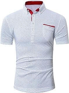 Stoota 2019 Newest Mens Casual Short Sleeve Shirt Business Slim Shirt Dot Print Blouse Top