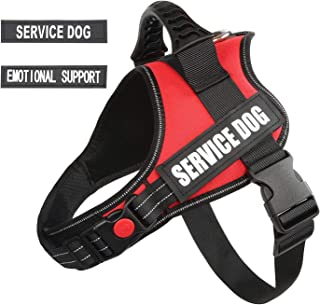 "pawshoppie Real Reflective Service Dog Vest Harness 2 Free Removable Service Dog 2 ""Emotional Support"" Patches, Woven Polyester & Nylon, Comfy Soft Padding"