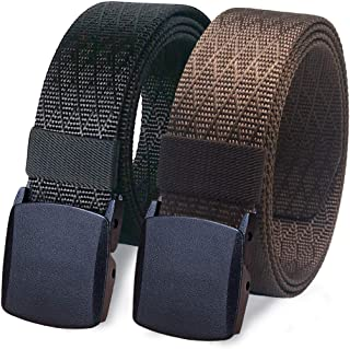 "WYuZe 2 Pack Nylon Belt Outdoor Military Web Belt 1.5"" Men Tactical Webbing Belt"
