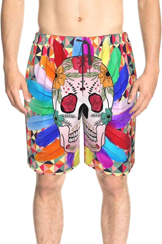 Men's Swim Shorts Skull Floral Beachwear Board Shorts Drawstring Elastic Athletic Swimwear Shorts with Pockets