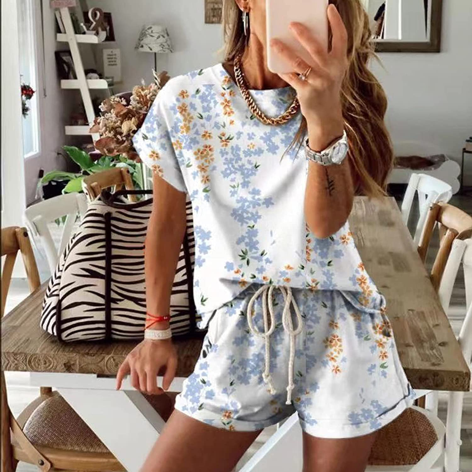 Fankle Womens Summer Casual Pajamas Set, Two Piece Outfits for Women Tie Dye 2 Piece Outfits Lounge Sets Sleepwear