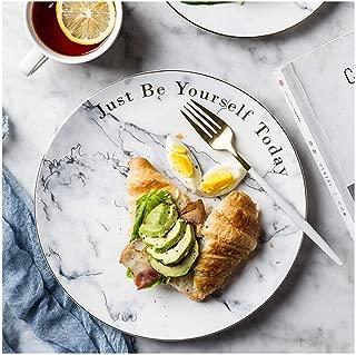 MJHSP European Style Marble Outline In Gold Ceramics Tableware Household Large Plate Dinner Plate Western Plate Steak Dish Salad Plate Dessert Plate Plate (Size : 20.3x2cm)
