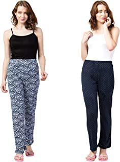 ASK - JS - LCD & CO Womens Track Pant Lower Cotton Printed Payjama/Lounge Wear –Soft Cotton Night Wear/Pyjama (Pack of 1),Free Size (fits from 28-36 inches Waist) Prints May Vary (Assorted colour)912