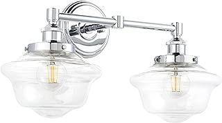 Lavagna 2 Light LED Bathroom Vanity Chrome with Clear Glass Linea di Liara LL-WL272-CLEAR-PC