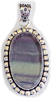 Fluorite Pendant, Silver Plated Brass Pendant, Handmade Pendant, Gift Jewelry, Women Jewellry, Fashion Jewellry, BRS-12365