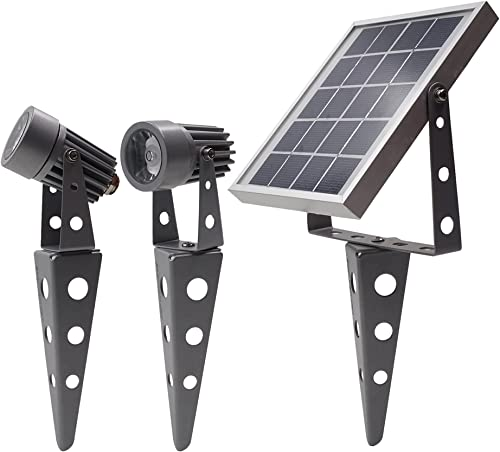 Gunmetal Finish, MINI 50X Twin Solar-Powered LED Spotlight (Cool White LED), Total Cable Length 32ft, for LED Lighting Outdoor Garden Yard Landscape Walkway product image