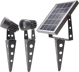Gunmetal Finish, Mini 50X Twin Solar-Powered LED Spotlight (Cool White LED)