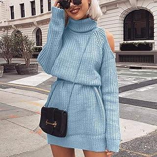 BINGSL JerséIs SuéTer,Vestido de suéter de Punto de Cuello Alto de Cuello Alto de otoño Invierno para Mujer Sólido Slim Pl...