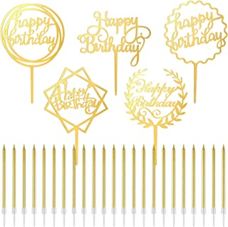 24 Pieces Birthday Cake Candles Metallic Long Thin Cake Candles and 5 Pieces Happy Birthday Cake Toppers Acrylic Cupcake Toppers for Birthday Cake Decoration (Gold)