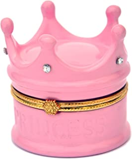 Art Gifts Princess Crown Pink with Rhinestones Porcelain Hinged Trinket Box