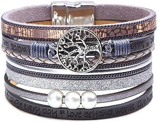 Tree of Life Leather Multi-Layer Wraps Bracelet,Boho Wide Buckle Wristband Bangle,Braided Cuff Bracelets for Women